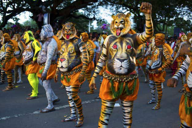 In Pictures: see the amazing Pulikali Tiger Dance in India