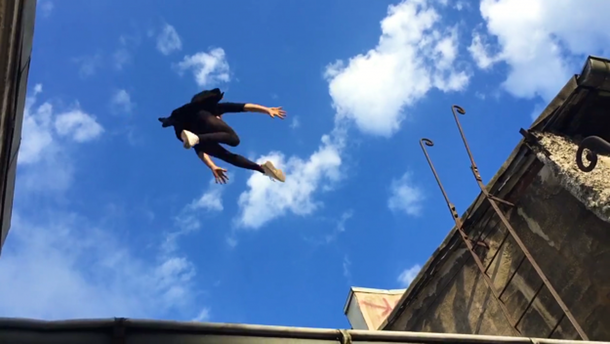 The romance of Paris is captured in this daring rooftop video