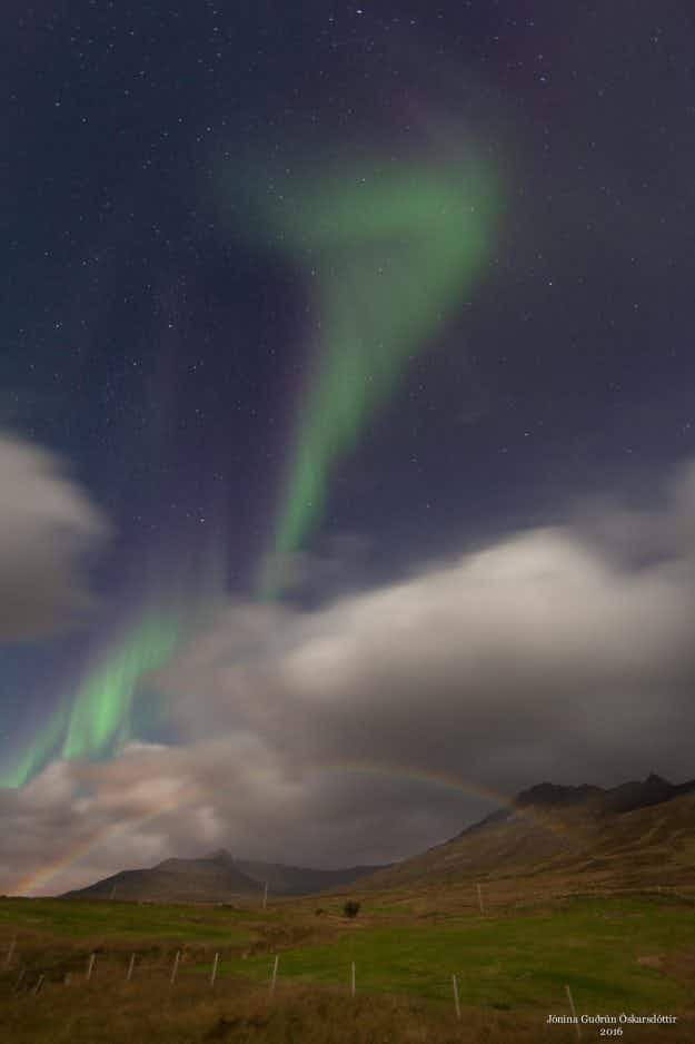 Photographer captures rare moonbow with the northern lights above Iceland