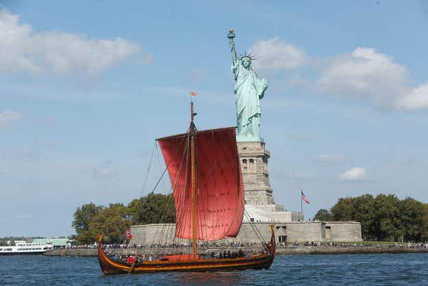 The world's largest Viking ship sails into New York harbour after an epic voyage