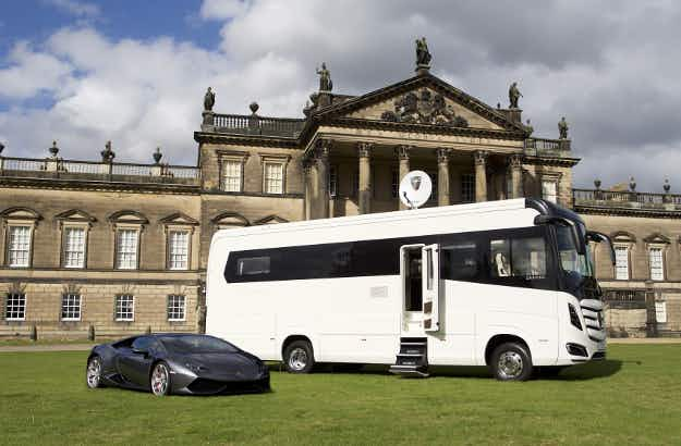 This extravagant motorhome has everything – including its own garage