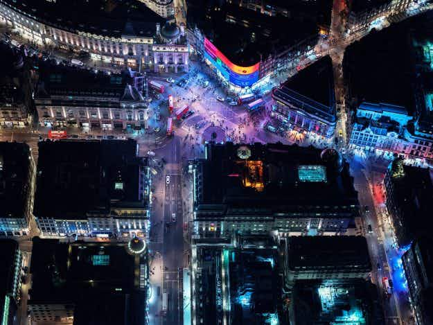 Aerial photographer shares beautiful pictures of London lit up at night