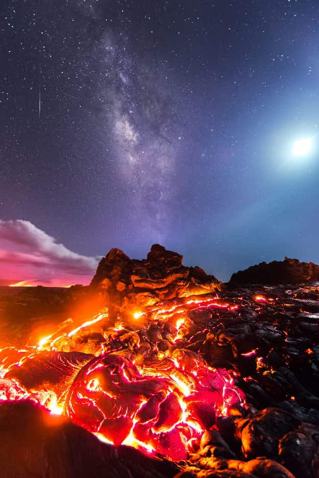 Stunning photos show lava flowing in Hawaii beneath the Milky Way