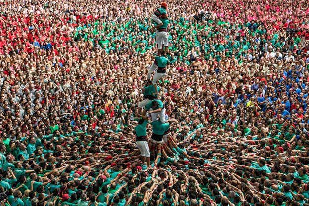 See these incredible people towers from Catalonia's Human Tower Competition