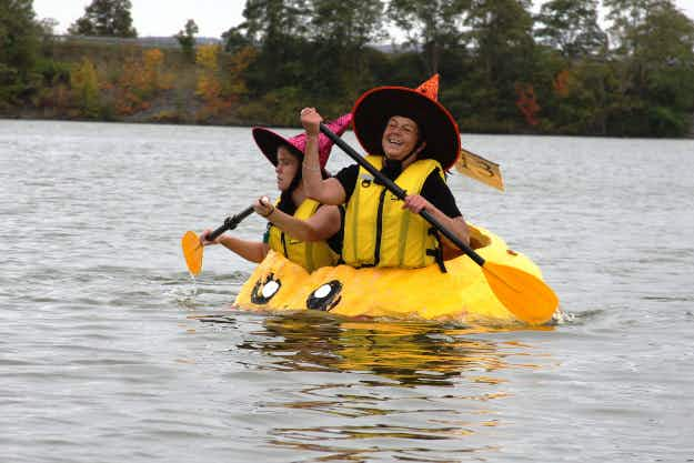 A town in Canada celebrates autumn with an annual pumpkin regatta