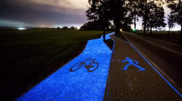A bright blue glow-in-the-dark cycle path powered by the sun has been unveiled in Poland