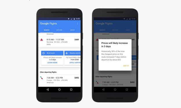 Google Flights will now help you find the cheapest fares by updating you when prices are likely to change