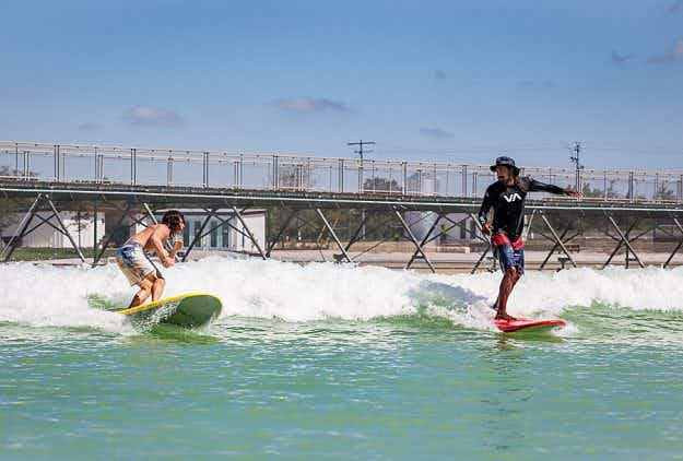 Stetsons and speedos merge at America's first inland surf park