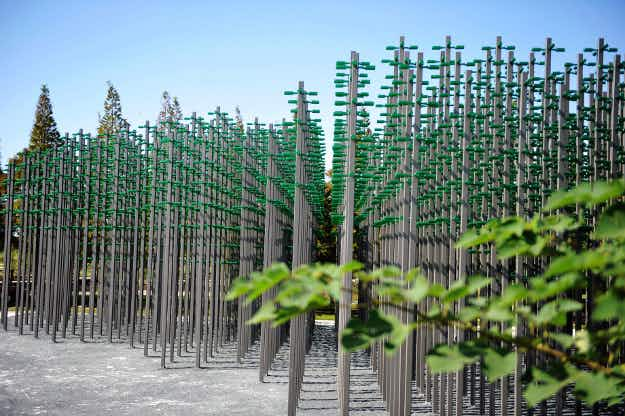 This Chinese brewery erected a beer bottle forest that lights up and plays music