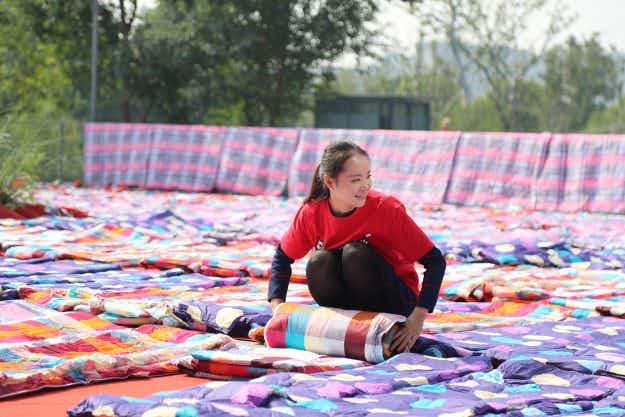 Thousands of quilts aired in the sun ahead of China's forthcoming 'Singles Day' shopping festival
