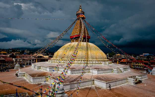 The great stupa at Bodhnath almost restored to its pre-earthquake glory in Nepal