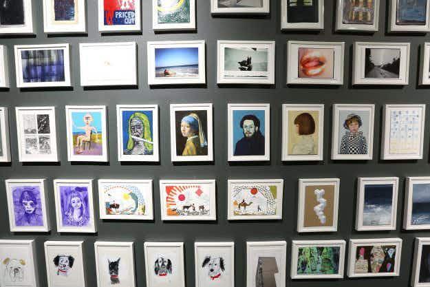 Famous artists donate artworks for a secret Art on a Postcard auction in London