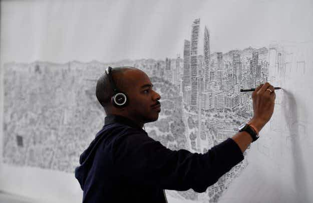 Artist creates beautiful intricate freehand drawings of cities from memory