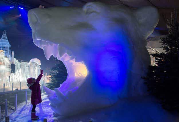 Magical ice sculptures go on display for the opening of Hyde Park Winter Wonderland