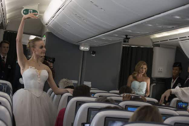 Russian dancers bring ballet to the skies to mark British Airways flight to Moscow