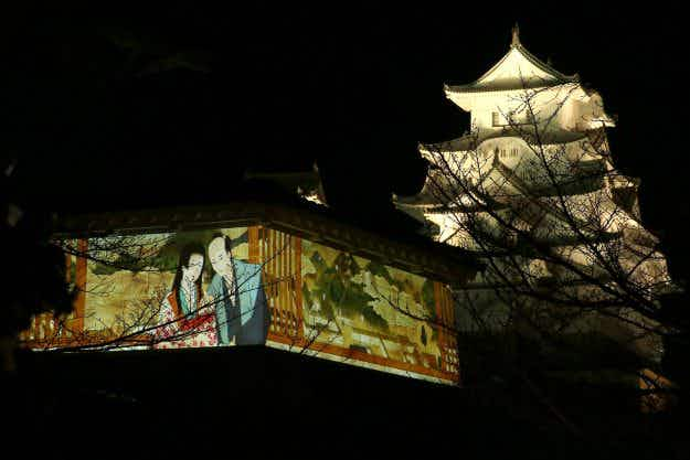 In pictures: beautiful 3D projections light up historic Himeji Castle in Japan