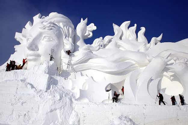 Get a first glimpse at the amazing sculptures at this year's Harbin Ice Festival in China