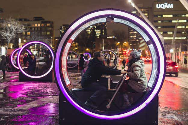These beautiful futuristic fairy tale-filled cylinders are lighting up Montreal
