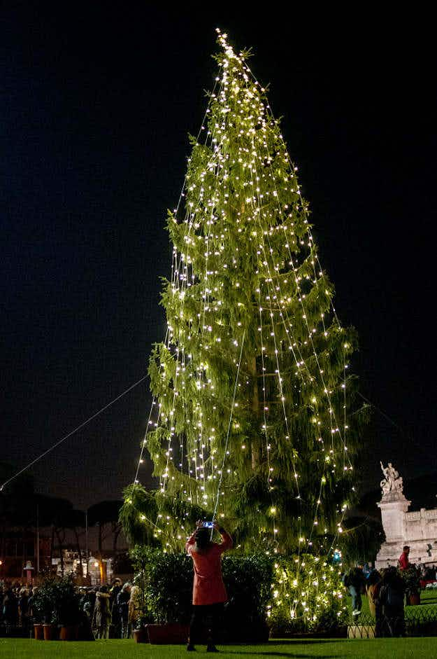 Rome's 'ugly Christmas tree' has been given a make-over after locals took to social media to protest