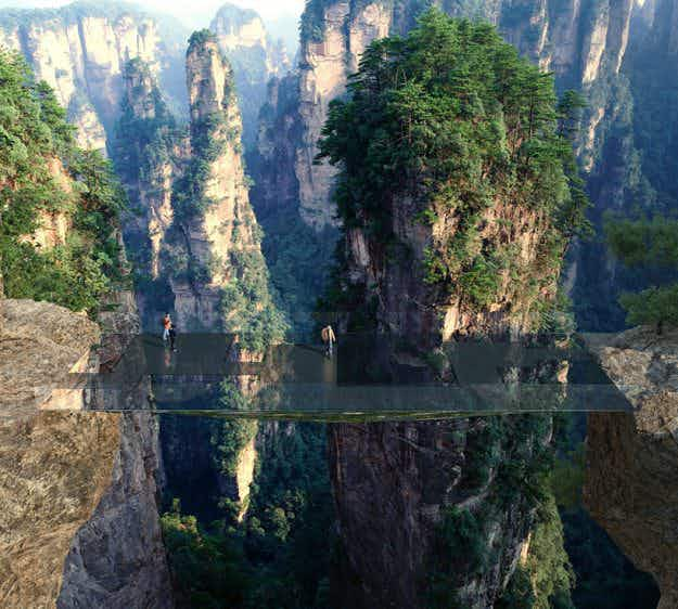Would you cross this dramatic, sky-high 'invisible' bridge in China when it's built?