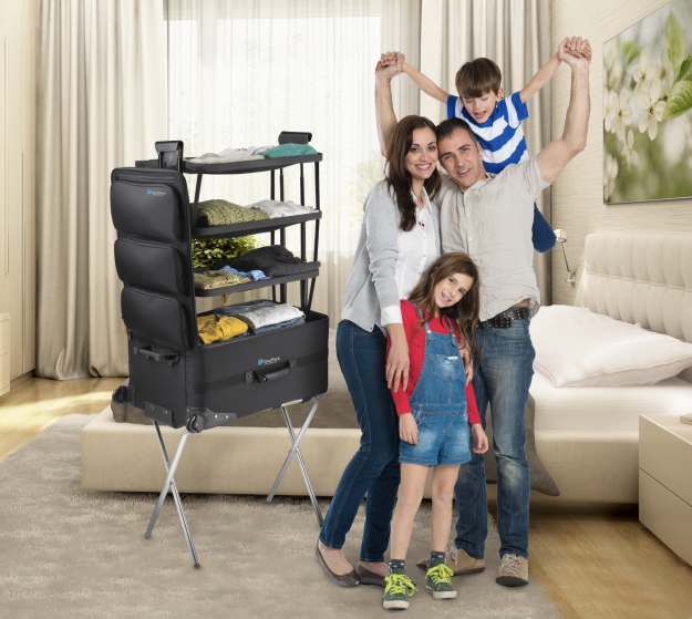This new easy-to-manage suitcase transforms into a closet on wheels