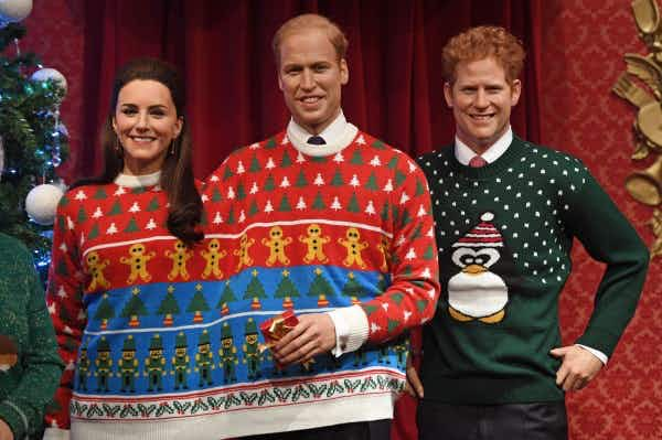 See the royal family in Christmas jumpers at Madame Tussauds in London