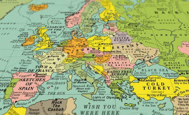 Sing your way around the globe with this World Song Map marking places with music titles