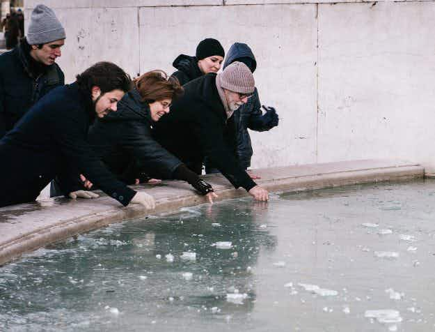 Cold snap:  Europe experiences extreme weather as Roman fountains freeze over