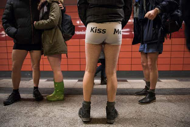 In pictures: people around the world strip down for the No Pants Subway Ride
