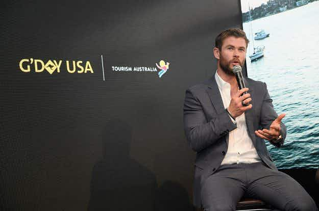 Hollywood actor Chris Hemsworth is inviting Americans to visit him Down Under
