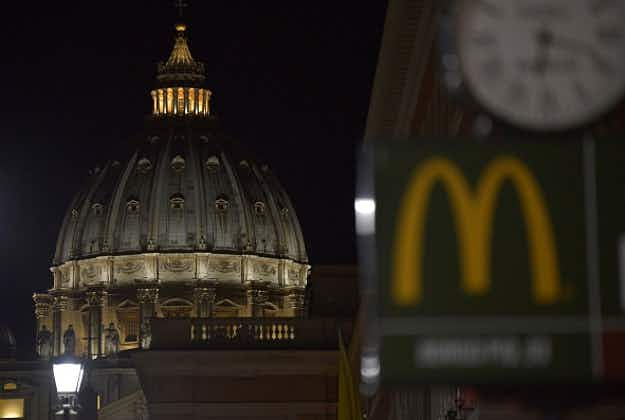 Protests and prayers go unanswered in Rome as first Vatican McDonald's opens