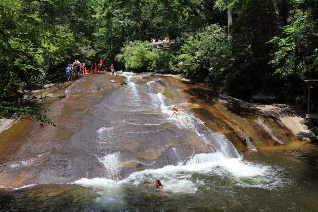 For a refreshing change why not plunge down a natural rock waterslide in North Carolina