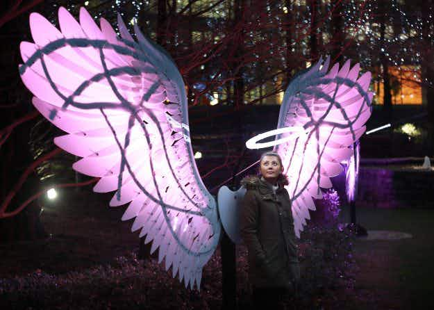 Giant angel wings, glowing graffiti and floating poetry: a first look at this year's Canary Wharf Winter Lights Festival