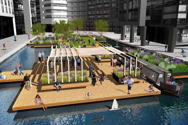 London is to get its first floating 'pocket park' this spring in Paddington