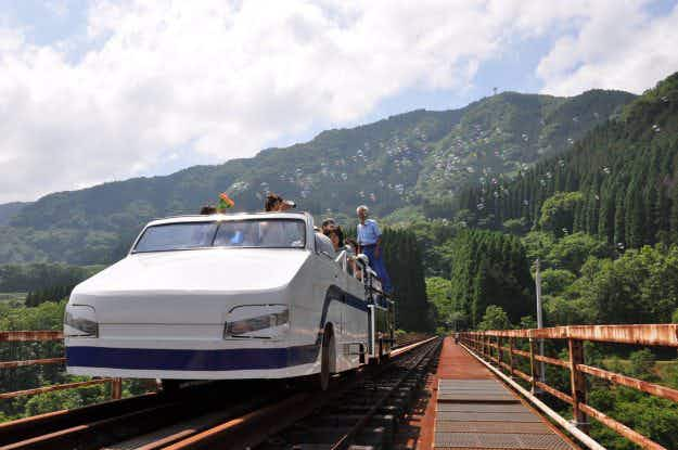 A disused railway line in Japan has been reborn as a unique tourist ride