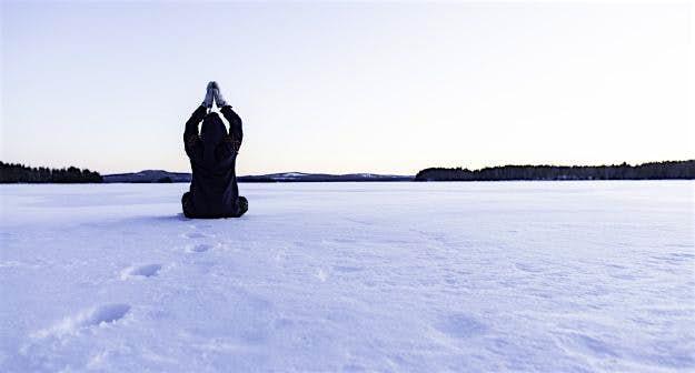 Rebecca practices her ice yoga.