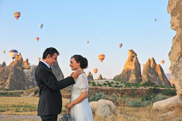 Twenty-two couples said 'I do' in hot air balloons over Chiang Rai for Valentine's Day