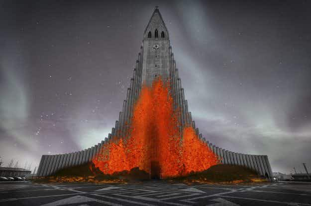 See a volcano projected onto the Hallgrímskirkja for the Reykjavík Winter Lights Festival