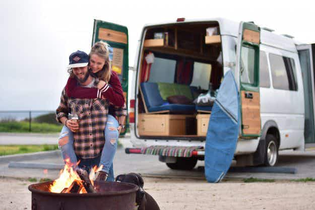 See how this couple turned their van into a home for life on the road with their dog