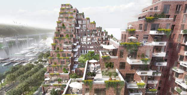 This ultra-modern staggered development is being built in Denmark