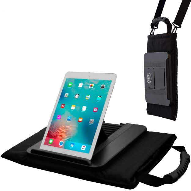 This travel tote bag is designed to fit devices and features a clever tablet stand