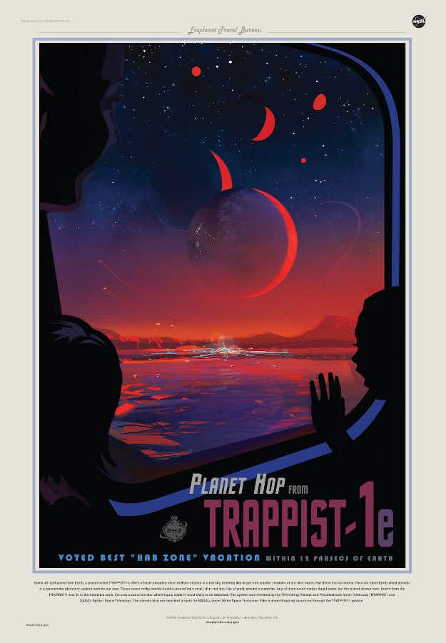 NASA creates a travel poster for newly-discovered exoplanets in a nearby solar system