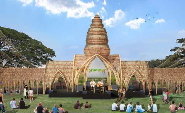 A stage made from rice at Thailand's Wonderfruit festival will be eaten afterwards