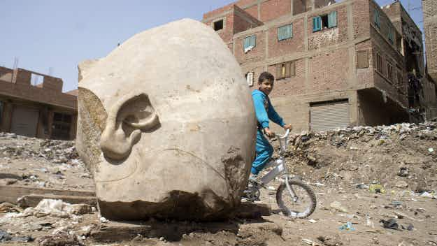 A massive statue of Ramses II has been unearthed in Cairo