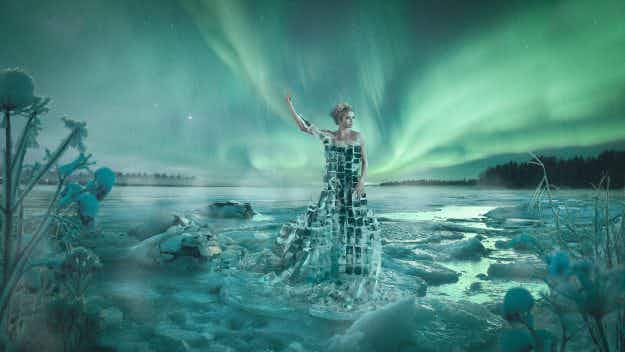A photographer has created a stunning 'ice dress' in the shape of Finland to celebrate independence centenary