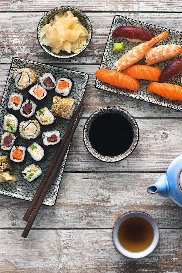 Japanese cuisine, including sushi.