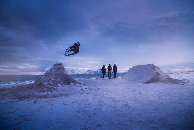 Watch these skateboarders ride on a frozen beach in Norway