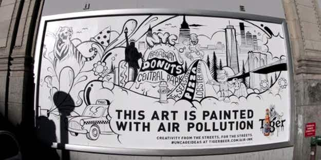 This incredible street art is painted with ink made from air pollution