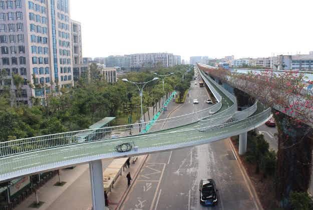 China's incredible eight-kilometre 'bike lane in the sky' opens in Xiamen