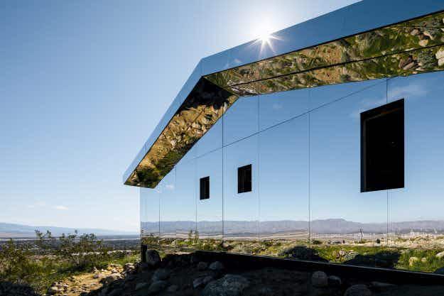 Artist creates stunning mirrored house installation in the Coachella Desert Valley